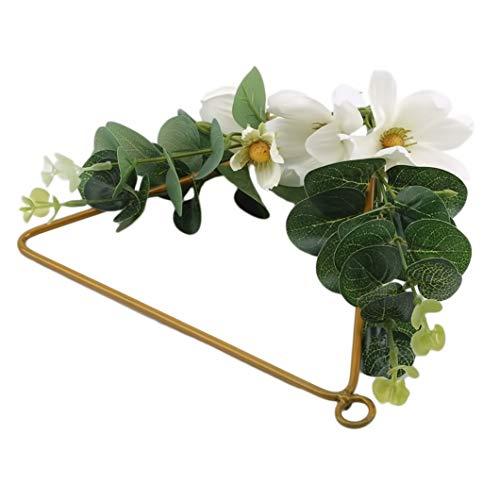 SJHFG Hangings - Guirnalda de hierro forjado, cuerda de cáñamo, flores artificiales para decoración de la pared del hogar, decoración de pared, adorno de triángulo