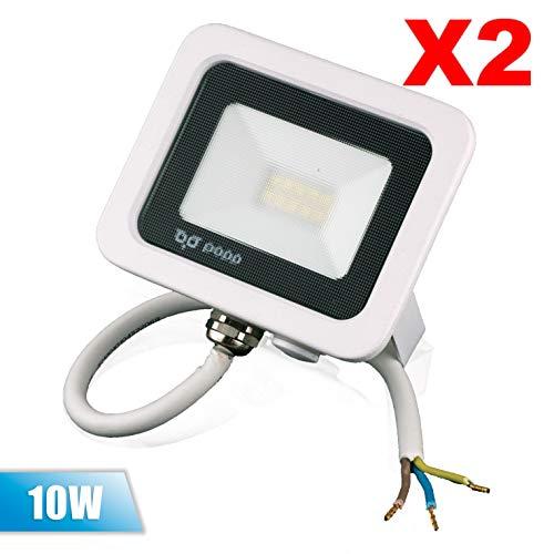 Popp PACK 2 Floodlight Led Foco Proyector Led para Exterior Iluminación Decoración 6000k luz fria Impermeable IP65 blanco con cristal opal y Resistente al agua. (10)