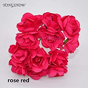 ShineBear 24Pcs 3cm Artificial Azaleas Paper Flower Wedding Decoration DIY Craft Rhododendron Fake Flower Rose Wreaths Home Supplies – (Color: Rose Red)