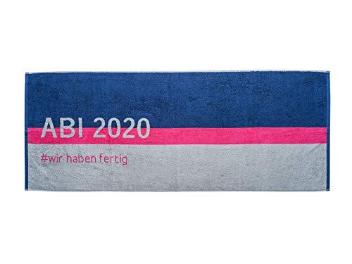 PRINZ ABI 2020 Strandtuch Abitur Geschenk 70x180 cm Baumwolle (Fuchsia)