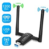 PiAEK WLAN Stick, 1200 Mbit/s WLAN Adapter USB 3.0 Dualband Wireless Adapter mit 5,8G/ 2,4G 5dBi Dual WiFi Antennen für PC/Desktop/Laptop/Tablet Support Fenster XP/Vista/ 7/8/ 10 Mac OSX/Linux