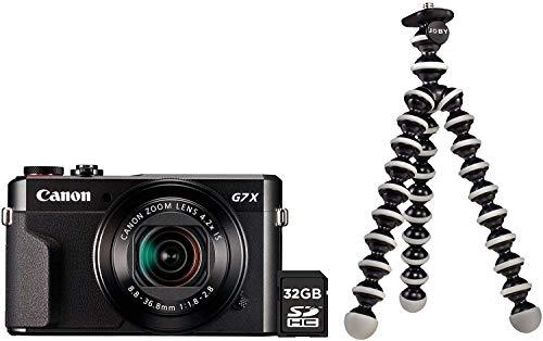Canon PowerShot G7X Mark II Kamera Vlogging Kit inkl. JOBY GorillaPod Stativ + 32 GB SD Karte (20,1 MP, klappbares 3 Zoll Touchscreen LCD, Full HD Videos, 4,2 fach Zoomobjektiv, F1.8-2.8), schwarz
