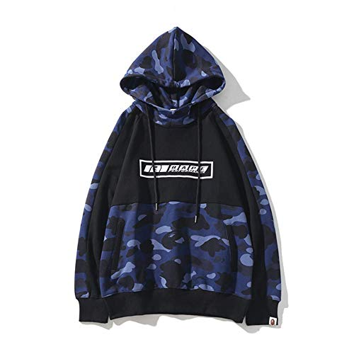 ZDZQDD Shark Ape Bape Camo Herren Damen Hoodies Sweatshirt Lässig Hip-Hop Lustige Tops, Werden Sie die coolste Person in einem Bereich-Blau_L.