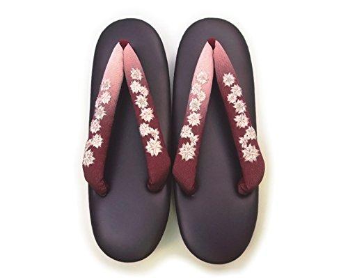 刺繍鼻緒ウレタン底草履≪濃紫≫フリーサイズ着物きもの履物草履