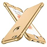 ORETECH iPhone 6s Hülle,iPhone 6 Hülle, iPhone 6/6s Hülle mit [2 x Panzerglas Schutzfolie Glas] 360°Ultradünne, Kratzfeste PC + Silikon-handyhülle für iPhone 6/6s Schutzhüllen - 4,7 Zoll-Gold