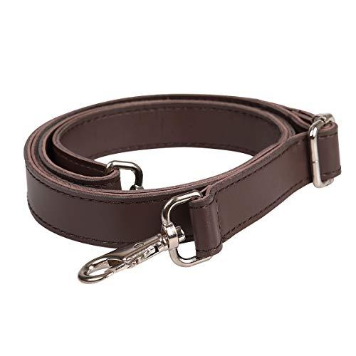 Jakago - Tracolla universale in pelle con ganci girevoli in metallo argentato, regolabile, accessorio per borsa a tracolla, valigetta, borsa a secchiello, per il fai da te 150cm Marrone