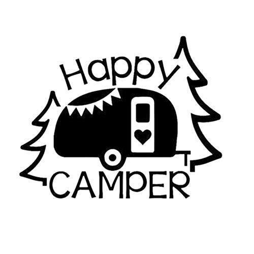 Autosticker Happy Camper Decal Auto Venster Truck Glas Motorfiets SUV's Bumper Auto Styling Vinyl Decals Auto Sticker