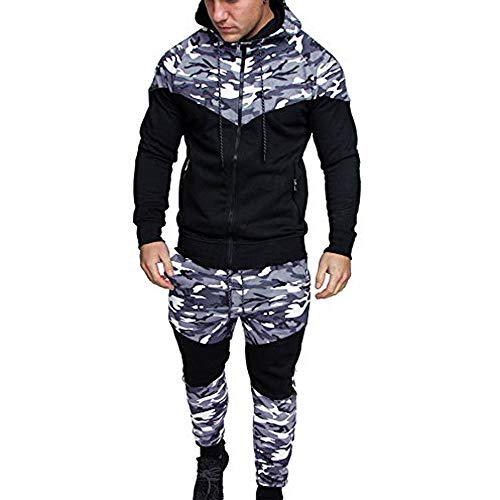 Survêtement Homme Ensemble 2 Pièces Sport Running Sweat Capuche + Pantalon de Jogging Camouflage Casual Slim Fit Tenue de Sport Pas Cher