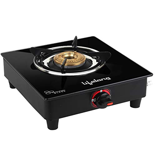 Lifelong LLGS201 Single Burner Glass Gas Stove (Black, 27 x 29 x...