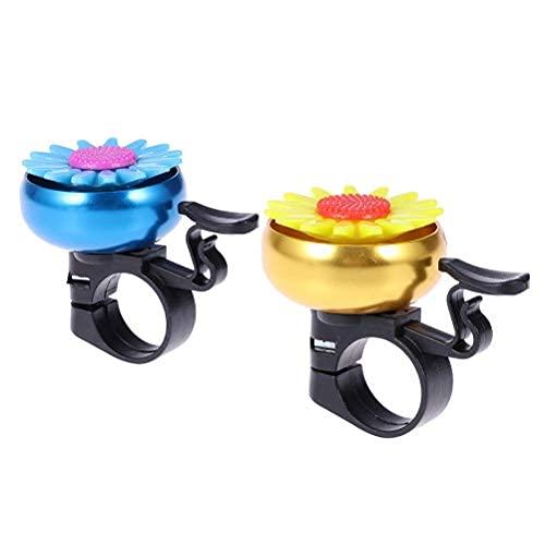 2 stücke Sonnenblumenförmige Fahrradklingel Kinder Kinder Fahrradklingel Radfahren Glocke Lenker Ring Glocke Ringer Horn (Golden + Blau)