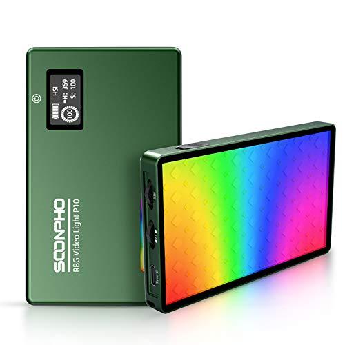 Soonpho Luz de Video RGB, Luz de Cámara LED con Batería 4000mAh Incorporada Recargable, Regulable 2500K-8500K a Todo Color 12 Modos de Efectos de Iluminación Portátil Led Luz de Vídeo