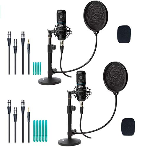 Movo 2-Pack Universal XLR Condenser Microphone Podcasting Equipment...