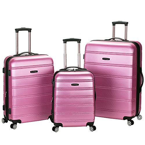 Rockland Melbourne Hardside Expandable Spinner Wheel Luggage, Pink, 3-Piece Set (20/24/28)