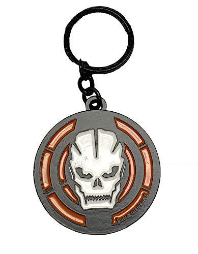 Call of Duty Black Ops 3 Round Metal Skull Key Chain Black/Orange