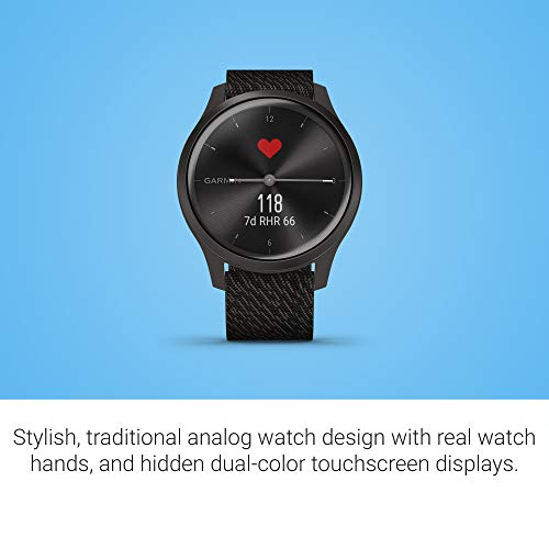 Garmin vívomove Style, Hybrid Smartwatch with Real Watch Hands and Hidden Color Touchscreen Displays, Graphite with Black Woven Nylon Band 2