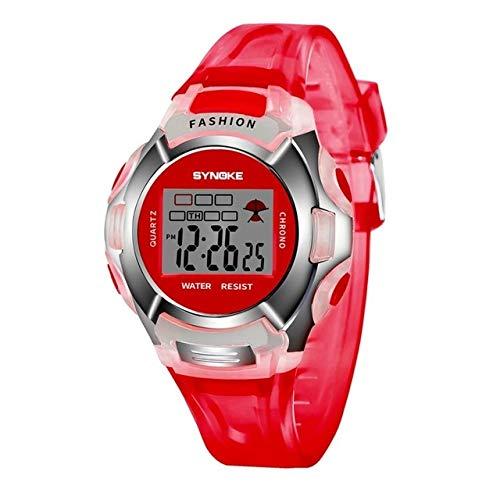 Slimme horlogebandjes Verkopen goed 99329 Waterdichte Lichtgevende Sport Elektronisch Horloge voor Kinderen(Zwart), Rood