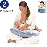 Royal Baby Cuscino Allattamento Neonato - 2 Federe Cuscino Puro Cotone - Allattamento Ergonomico...