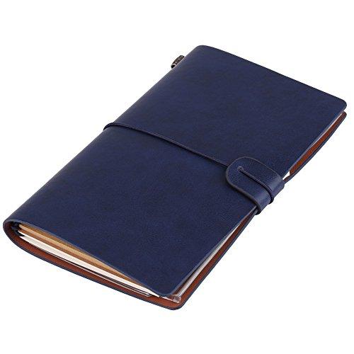 Asixx Cuaderno de Notas, Diario, Cuaderno de Viaje, de Cuero de La PU, Regalo, para Escribir Letras, Dibujar O Pegar Fotos, Etc(Azul Oscuro)