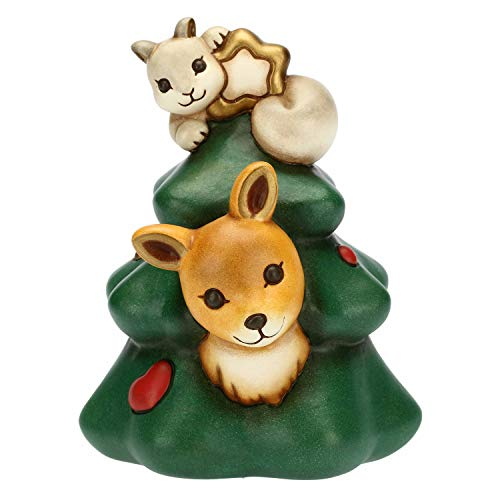 THUN  - Albero di Natale Medio con cerbiatto e Scoiattolo - Ceramica - h 15,5 cm - Linea I Classici