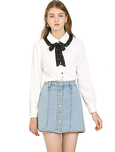 Allegra K Damen Langarm Bubikragen Panel Schleife Shirt Bluse Weiß S