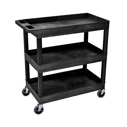 """LUXOR EC111-B Tub Storage Cart 3 Shelves - Black,32\"""" x 18\"""""""