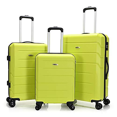 BONTOUR Spinner Reisekoffer 3-teiliges Set, Hartschale Trolley Koffer 4 Rollen mit TSA-Schloss (Grün, 3er Set)