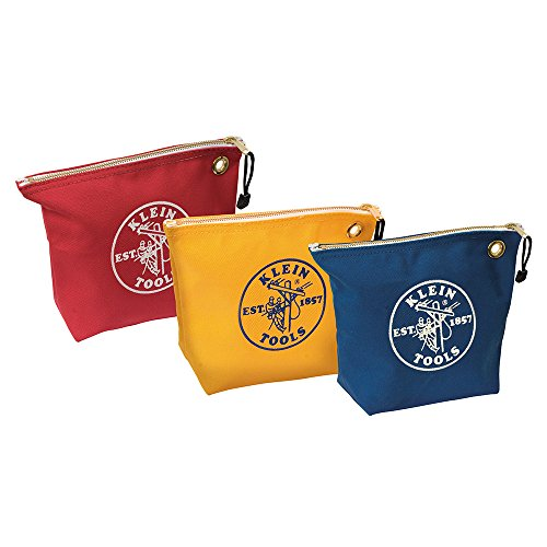 Klein Tools 5539CPAK Canvas Zipper Pouch, 10-Inch Tool Bag Storage Organizer, Assorted Colors 3-Pack