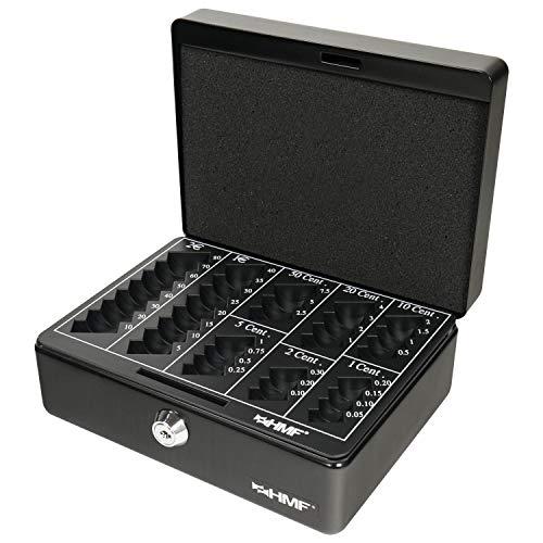 HMF 308-02 Cassetta Portavalori con Vassoio Della Moneta Euro-Rimovibile 20 x 16 x 9 cm, nero