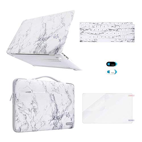 MOSISO MacBook Air 13 inch Case 2020 2019 2018 A2337 M1 A2179 A1932 Retina, Plastic Hard Shell & Sleeve Bag & Keyboard Cover &Webcam Cover &Screen Protector Compatible with MacBook Air 13,White Marble