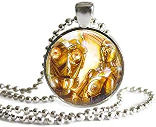 Star Wars C3PO 1 Inch Silver Plated Pendant Necklace or Keychain