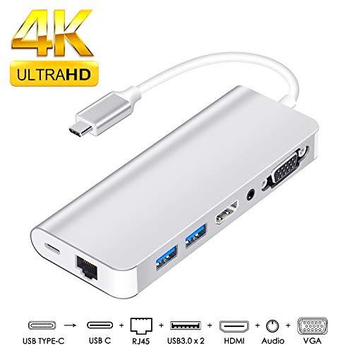 usb type c to hdmi変換アダプター usb c ハブ 8in1 usb typec ハブ usb-c hdmi 変換 usb c lan MacBook Pr...