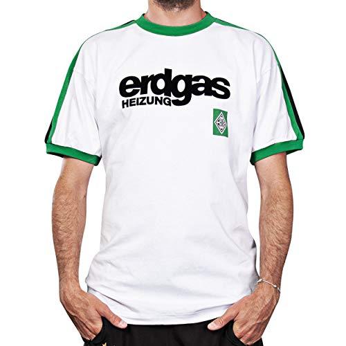 Borussia Mönchengladbach originales Retro Erdgas Home Trikot 1978 - Weiß - Gr. M