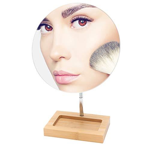 "YEAKE Flexible Gooseneck Bamboo Vanity Makeup Mirror,360°Rotation 8"" Large Frameless Vanity Mirror Folding Portable Table Desk Mirror with Stand Bathroom Shaving Make Up Mirrors Round"