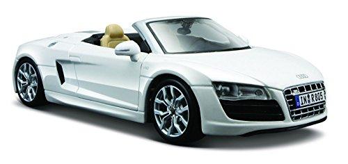 Maisto Audi R8 Spyder: Originalgetreues Modellauto 1:24, mit Türen und Kofferraum zum Öffnen, Fertigmodell, weiß (531204)