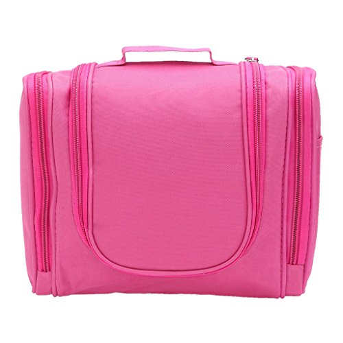 IGNPION Travel Hanging Toiletry Wash Bag Large Cosmetic Bag Portable Travel Makeup Kit for Women (Bright Pink)
