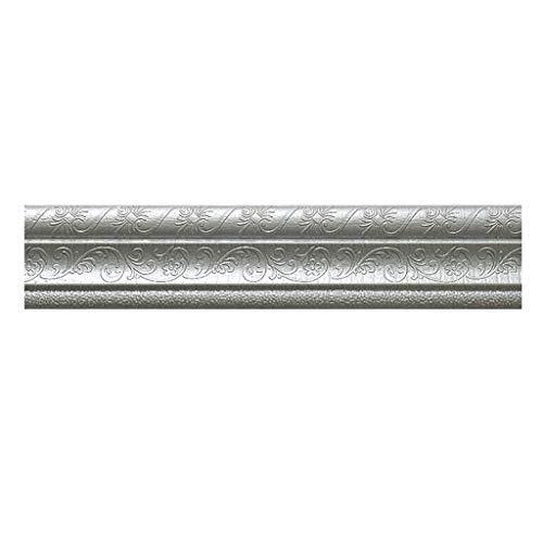 Masrin Selbstklebende dreidimensionale Wandleiste Grenze wasserdichte Wanddekoration (Silber)