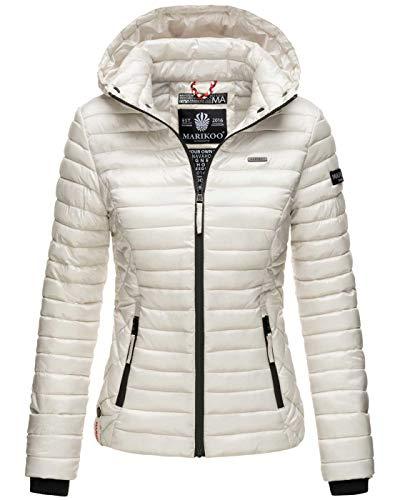 Marikoo Damen Jacke Steppjacke Übergangsjacke mit Kapuze gesteppt B600 [B600-Samt-Silber-Gr.M9