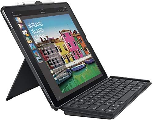 Logitech Slim Combo iPad-Hülle mit Kabelloser Tastatur, Für iPad Pro 10.5 Zoll (A1701, A1709) & iPad Air 3. Generation (A2152, A2123, A2153, A2154), Smart Connector, Deutsches QWERTZ-Layout - schwarz