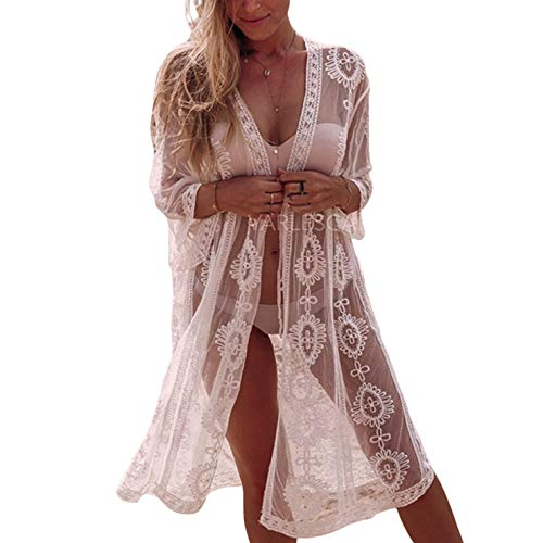 Ai.Moichien Maillot de Bain Femme Long Cover Up Bikini Lace Cardigan Beach Blouse White One Size