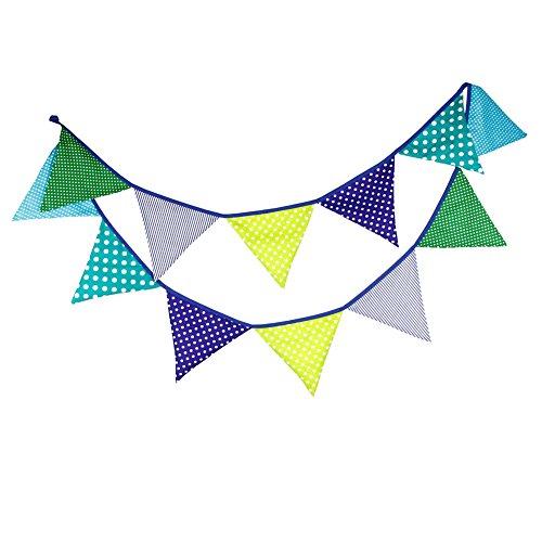 Outflower Wimpelkette für den Außenbereich, Vintage, mehrfarbig, gepunktet, 12 Wimpel, für Hochzeit, Party, 3,2 m