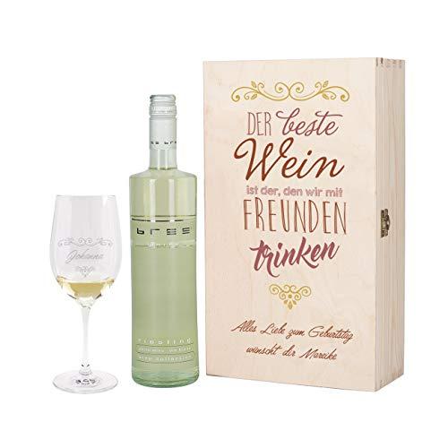 Herz & Heim® Wein Geschenkset mit graviertem Weinglas, Bree Wein zur Auswahl in Geschenkbox für Beste Freunde Weiß