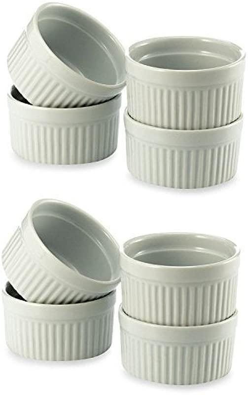 Set Of 8 8 Oz Porcelain Ramekins White Bowls 8 Ounce