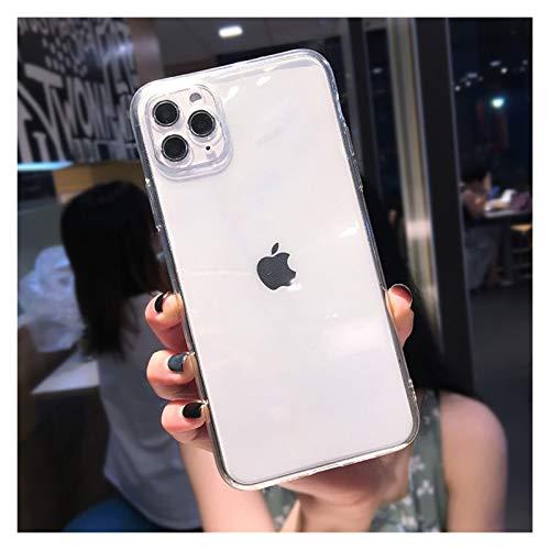 Glqwe Funda Suave de Fluorescencia para iPhone 12 Mini Pro MAX 6 7 8 11 S Plus X S XR MAX Protection Funda Transparente (Color : E, Material : For iPhone 12 Pro)