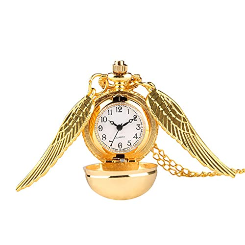 SSJIA Reloj Dorado Reloj de Bolsillo Collar Cadena Colgante Relojes-Reloj de Bolsillo Dorado
