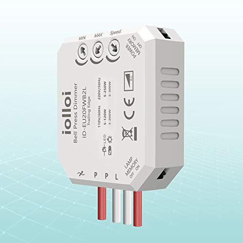 Interruttore dimmer da incasso, max. 250 W, LED da 300 W, alogeno con dimmer di fase adatto per due diverse tensioni, trasformatori e lampadine, 3 anni di garanzia