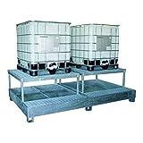 SSI Cuve de rétention en acier galvanisé pour 2 IBC 1000 litres (avec support)