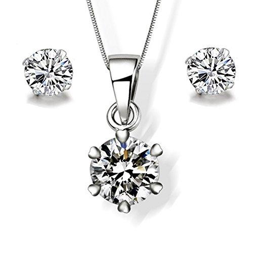 Gilind minimalista-Collana in argento Sterling 925 e orecchini, in confezione regalo