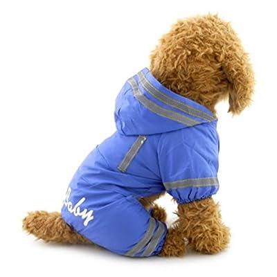 ZUNEA Small Dog Raincoat Hooded Waterproof Mesh Lined Puppy Slicker Rainwear Doggie Pet Rain Gear/Suit Jacket Jumpsuit Clothing Blue M