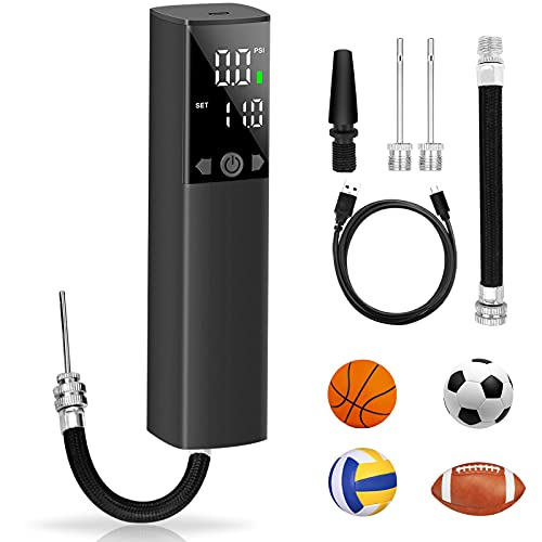 WEEFEESTAR Electric Ball Pump, Rechargeable Air Pump for Balls with LED Display 2 Needles & 1 Nozzle Fast Ball Inflator for Basketball, Soccer, Volleyball, Rugbyball (2000mAh)