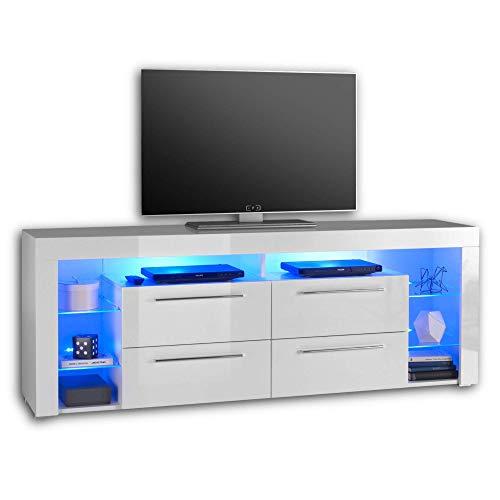 GOAL TV-Lowboard in Hochglanz Weiß mit blauer LED-Beleuchtung - hochwertiges TV-Board mit viel Stauraum für Ihr Wohnzimmer - 179 x 67 x 44 cm (B/H/T)
